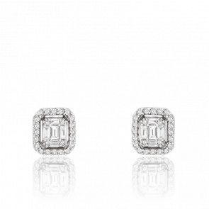 Boucles d'oreilles or blanc 18K & diamants