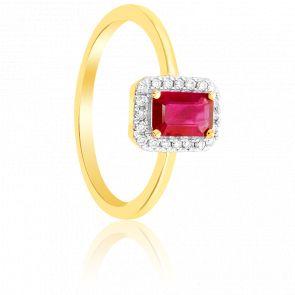 Bague rectangle or jaune 9K rubis & diamants