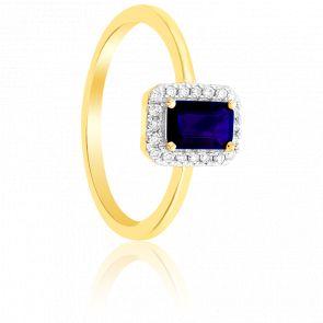 Bague rectangle or jaune 9K saphir & diamants