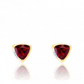 Boucle d'oreilles or jaune 9K grenat & diamants