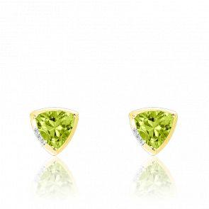 Boucle d'oreilles or jaune 9K péridot & diamants