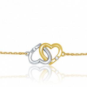 Bracelet Cœurs entrelacés, 2 Ors & Diamants