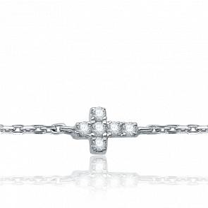 Bracelet Croix, Or blanc & Diamants