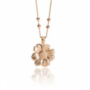 Pendentif Fleur Flora, Plaqué or 18 carats