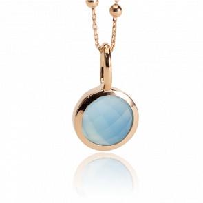 Pendentif Lisa, Plaqué or 18 carats & Agate bleue