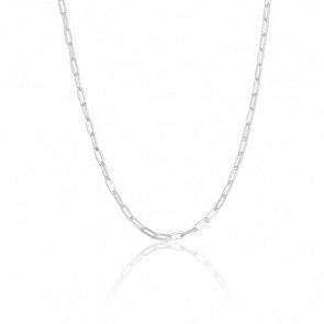 Chaine Maille Rectangle, Argent 18K, Largeur 3 mm