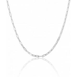 Chaine Maille Rectangle, Argent, Longueur 42 cm, Largeur 3,5 mm