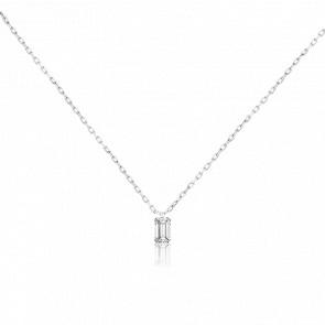 Collier émeraude Etincelle, diamant FSI et or blanc 18k