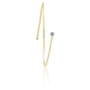 Bracelet vrille Palline, diamant FSI et or jaune 18k