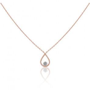 Collier Palline, diamant FSI et or rose 18k