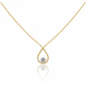 Collier Palline, diamant FSI et or jaune 18k