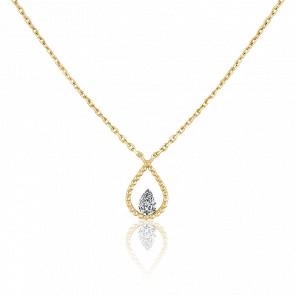 Collier poire Palline, diamant FSI et or jaune 18k