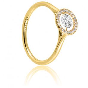 Solitaire Entourage, diamant FSI et or jaune 18k