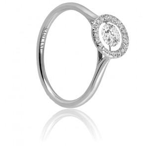 Solitaire Entourage, diamant FSI et or blanc 18k