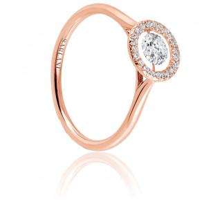 Solitaire Entourage, diamant FSI et or rose 18k