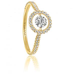Solitaire full pavé Entourage, diamant FSI et or jaune 18k