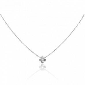 Collier motif Etincelle, diamants FSI et or blanc 18k
