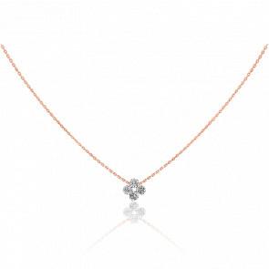 Collier motif Etincelle, diamants FSI et or rose18k