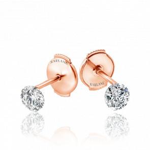 Puces d'oreilles Etincelle, diamant FSI et or rose 18k