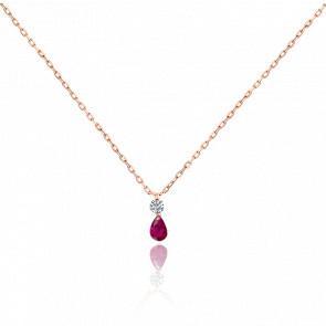 Collier bicolore Etincelle diamant FSI, rubis et or rose 18k