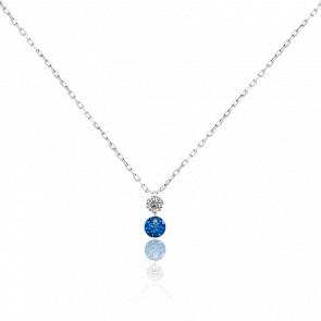 Collier bicolore Etincelle diamant FSI, saphir bleu et or blanc 18k