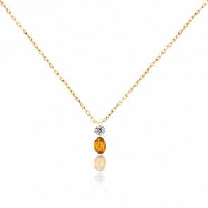 Collier bicolore Etincelle diamant FSI, saphir orange et or jaune 18k
