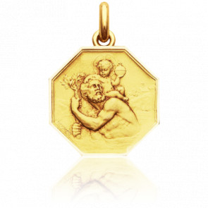 Médaille Octogonale Saint Christophe Or Jaune 18K