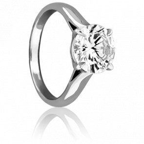 Bague Solitaire Forever Diamant 1 carat & Or Blanc