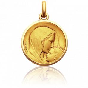 Médaille Vierge à l'Enfant le Baiser Or Jaune 18K