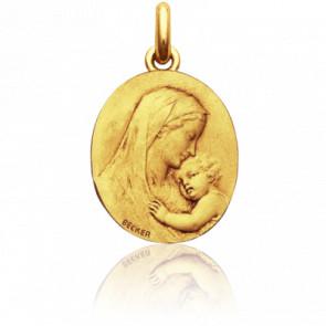 Médaille Vierge Maternité Ovale Or Jaune 18K