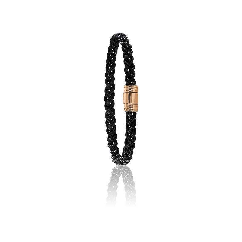 Bracelet 608 Poils Éléphant Tressés & Or Rose 18K