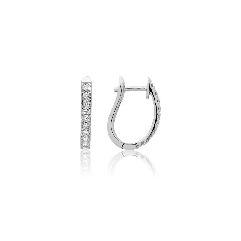cr ole ovale diamant e boucles d 39 oreille en or blanc et. Black Bedroom Furniture Sets. Home Design Ideas