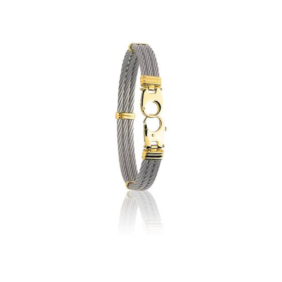 Bracelet jonc or blanc homme