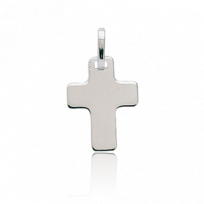Croix 14 x 19 mm Plate Or Blanc 18K
