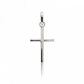 Croix 14x25 mm à Section Carrée Plate Or Blanc 18K