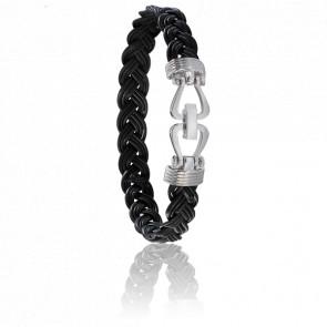 Bracelet 730 Poils Eléphant Noir & Or Blanc 18K