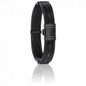 Bracelet Itague câbles en Acier, PVD noir et Or Rose 13 mm - Albanu
