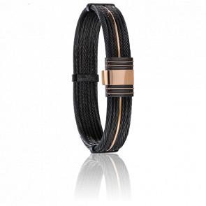 Bracelet 701 Câbles Acier, PVD noir & Or Rose