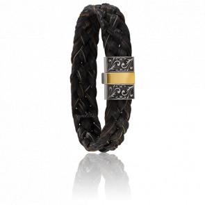 Bracelet 604/2 Gravé, Crin de Cheval Noir & Or Jaune