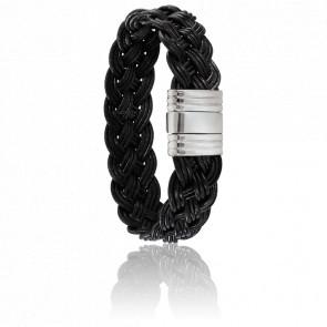 Bracelet 200 Minhota Cuir Tressé Noir & Acier
