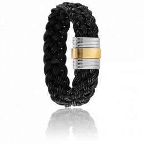 Bracelet 201 Vianesa Cuir Tréssé & Or Jaune 18K