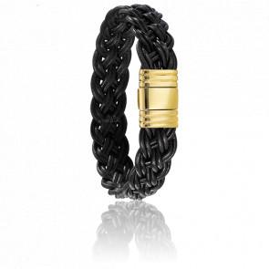 Bracelet 200 Oropa Cuir Tressé Noir & Or Jaune 18k