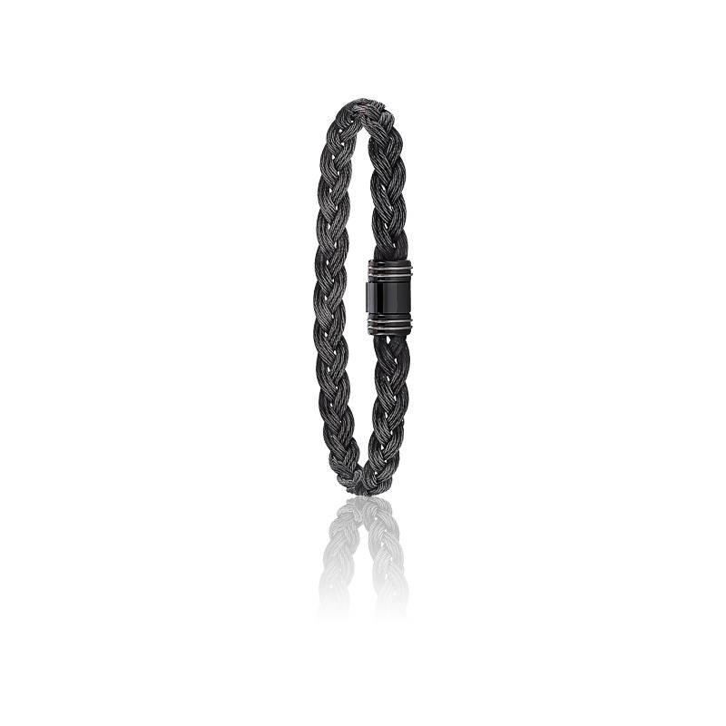 Bracelet 615 Câble Acier Tressé Noir & Or Blanc 18K