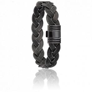Bracelet 410 Câbles Tressés & Acier Noir