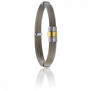 Bracelet 703 Câbles Droits, Acier & Or Jaune 18K