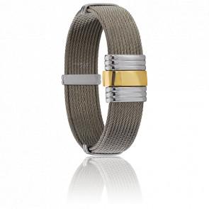 Bracelet 201 Aussière Câbles Acier & Or Jaune 18K