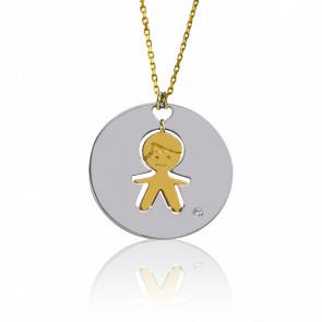 Collier et Médaille Pepe Puzzle, 2 ors et diamant