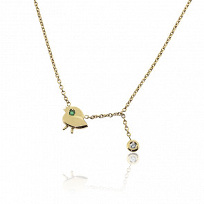 Collier Mon Piaf Or Jaune 9k et Diamant