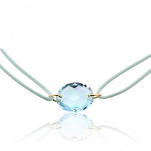 Bracelet Cordon Topaze Bleue Ovale - Bellon