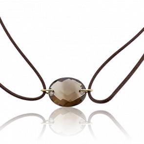 Bracelet Cordon Quartz Fumé Ovale - Bellon